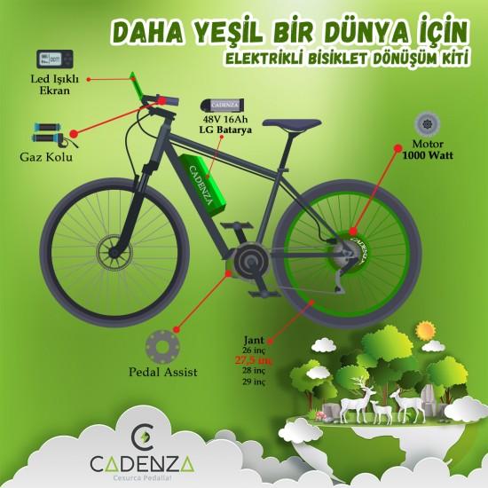 Cadenza Elektrikli Bisiklet E-Bike Dönüşüm Kiti 1000W 48V-16Ah LG